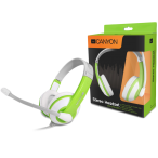 Canyon colorful USB headset, leather pads, inline remote, white-green