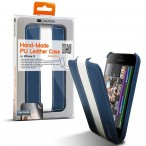Carefully hand-made protective leather case (Blue/White), screen protector included