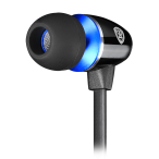 Stereo earphones with microphone; Crystal clear sound delivers dynamic bass; Noise-isolating ear-bud style to keep our ambient noise; Tangling-free cable design; black with blue color