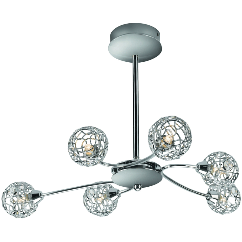 SALVADOR ceiling lamp chrome 6x28W 230V - Lusteri