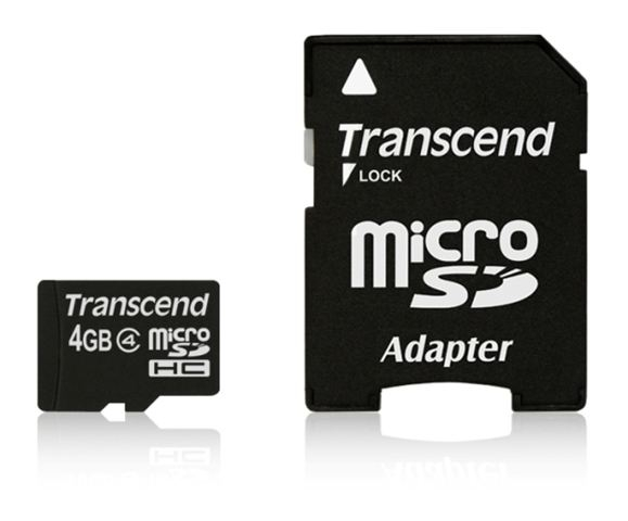 MICRO SD 4GB TRANSCEND + SD adapter TS4GUSDHC4	 - Micro SD