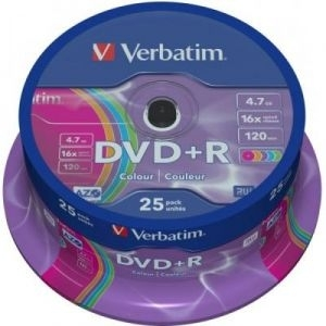 'DVD+R Verbatim 43733 Spindle 25/1, (cena za 25 diskova) Colour 16x