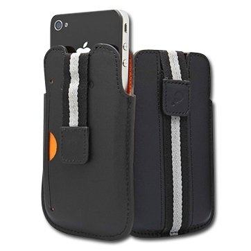 CYGNETT Boston Leather case with starp for iPhone 4 & iPhone 4S, Black, Retail for iPhone 4, Black, Retail