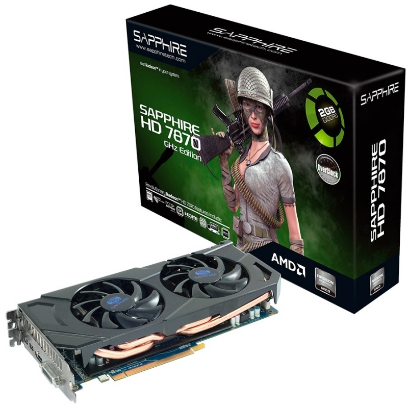 VC Sapphire AMD Radeon HD7870 GHZ EDITION 2G GDDR5 PCI-E DL-DVI-I+SL-DVI-D / HDMI / DP OC VERSION, 1050MHz / 1250MHz, 256-bit, 2 slot active,LITE