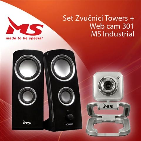 Set Zvučnici Towers + Web cam 301 MS Industrial