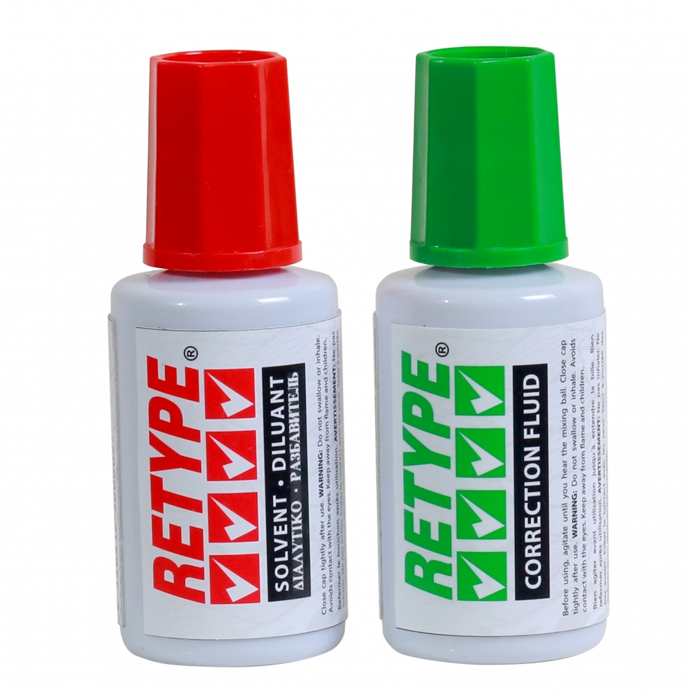 Korektor + razređivač solvent set 1/2, 20 ml, Retype original - Korektori i brisači