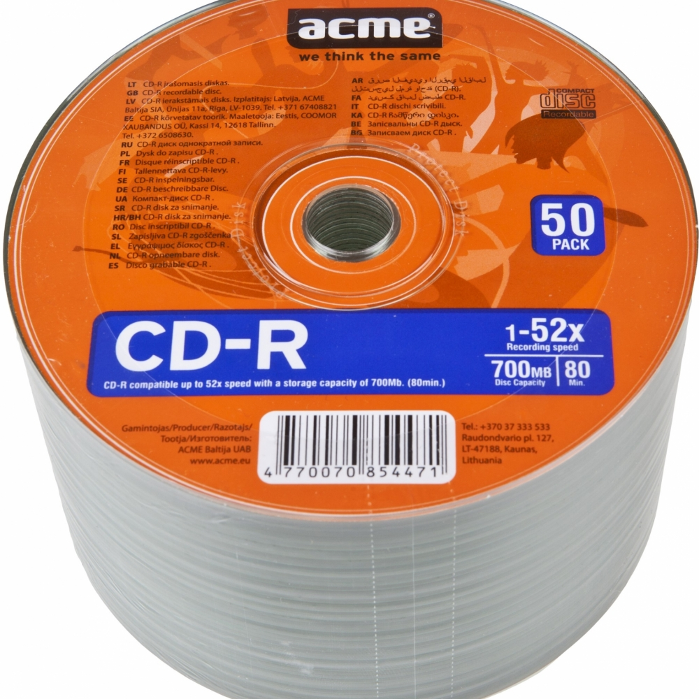 CD-R 80/700MB Acme 1/50 celofan 52x - CD