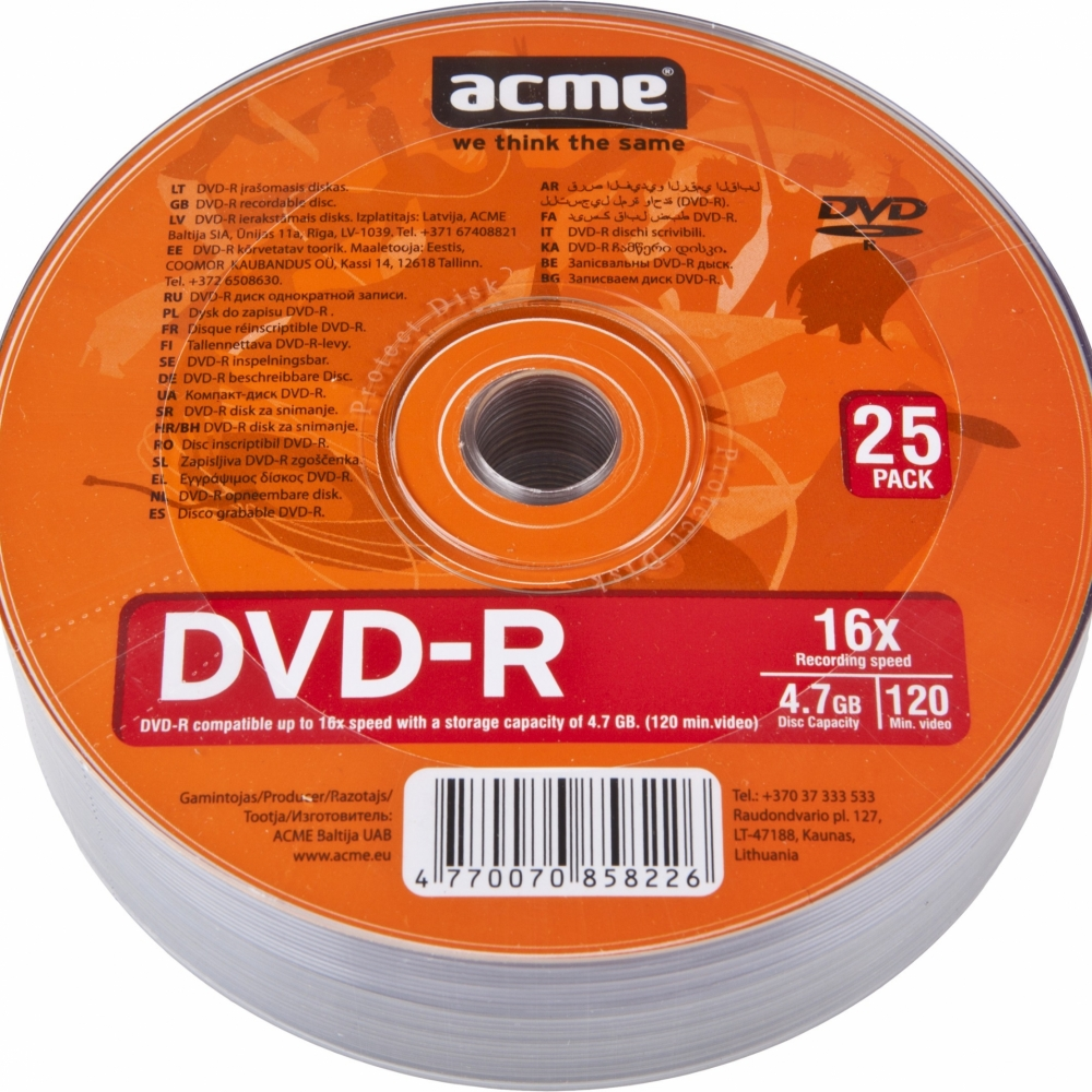 DVD-R 4.7GB 16x, Acme 1/25 celofan - CD DVD